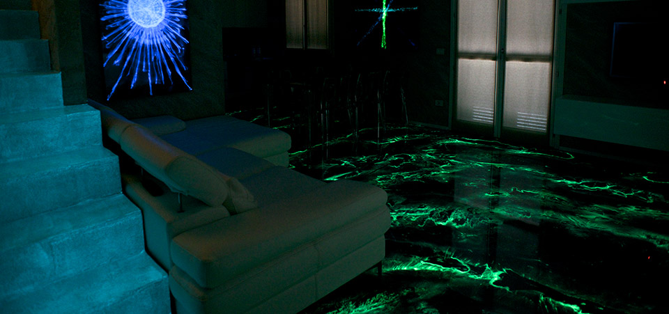 Luminescence, night effect in the living area.